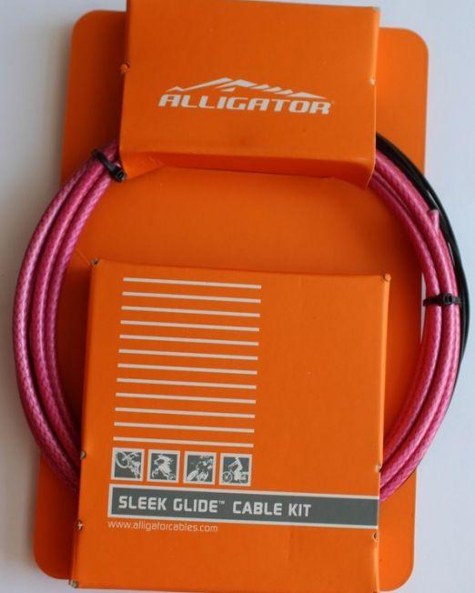 Set Cablu Frana Alligator Bptrd Sleek Glide, Universal, Rosu, Cabluri Ptfe+invelis Sp Multistrat+accesorii
